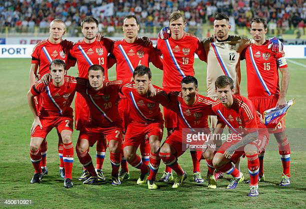 Russia national team pose for a team photo prior to the International Football match between South Korea and Russia at the Zabeel Staduim on November...