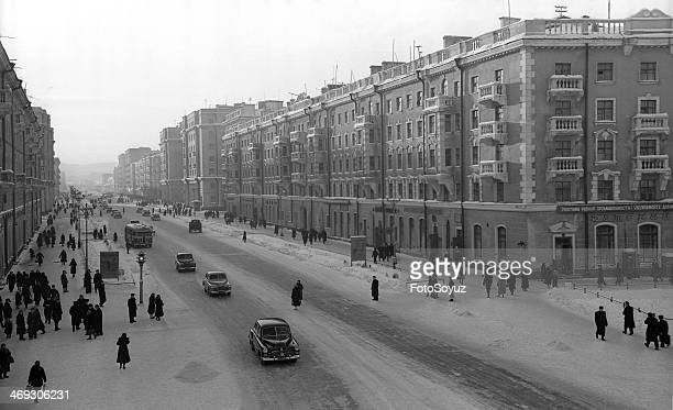 Russia NorthWest Murmansk Region 1950s Central street of Murmansk