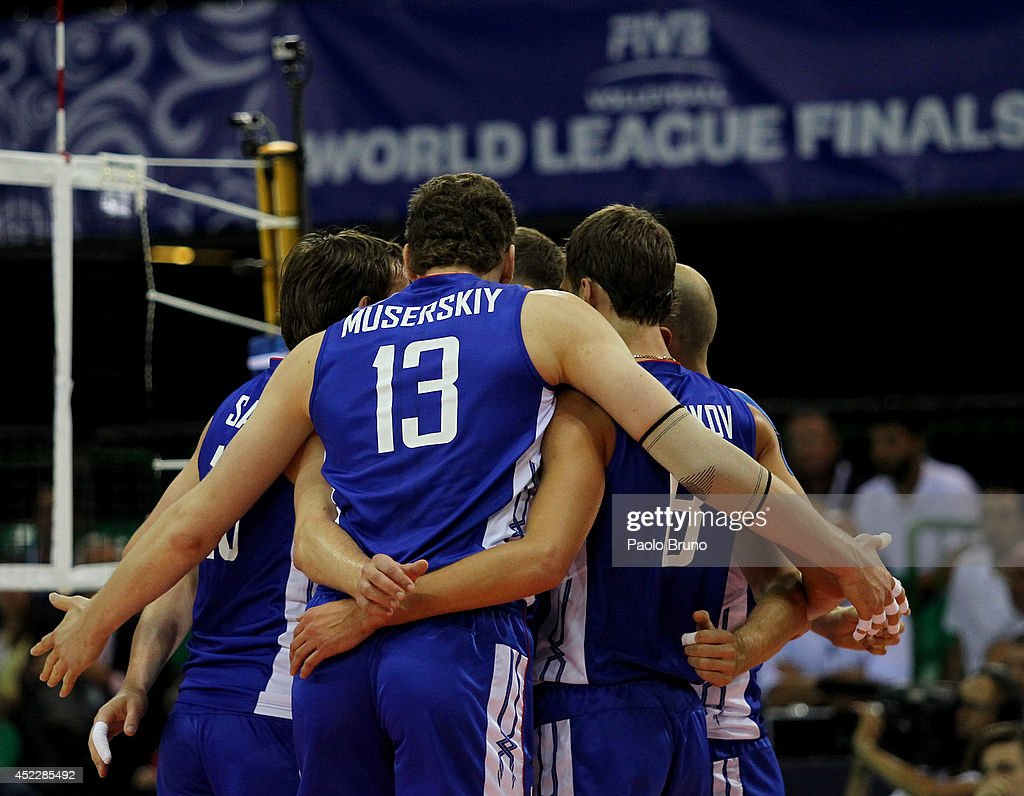 Russia players celebrate during the FIVB World League Final Six match between Russia and Brazil at Mandela Forum on July 17, 2014 in Florence, Italy.