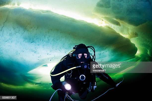 Russia, polar circle, ice diver