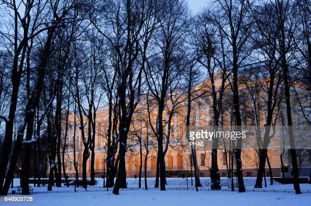 Russia Saint Petersburg State Russian Museum in Mikhailovsky Palace Neoclassical style erected in 181925 and design by Carlo Rossi Winter landscape