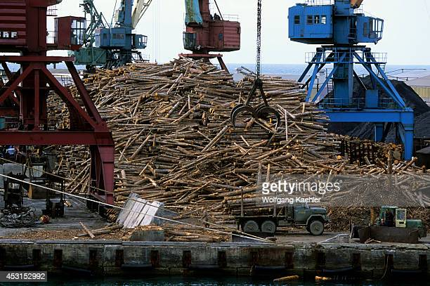 Russia Sakhalin Island Kholmsk Port Lumber Being Loaded