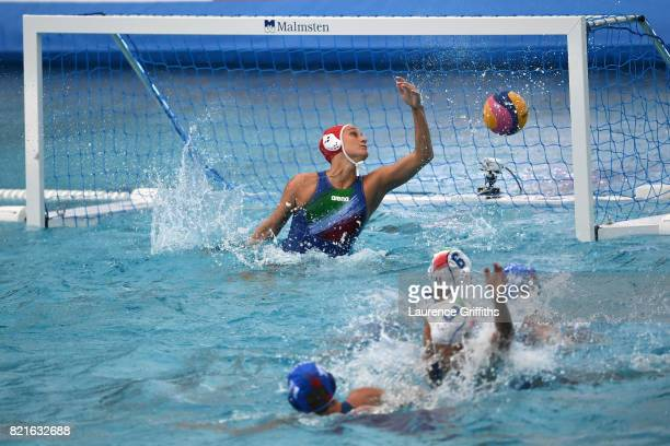 Russia score during their Women's Water Polo Quarter Final match against Italy on day eleven of the Budapest 2017 FINA World Championships on July 24...