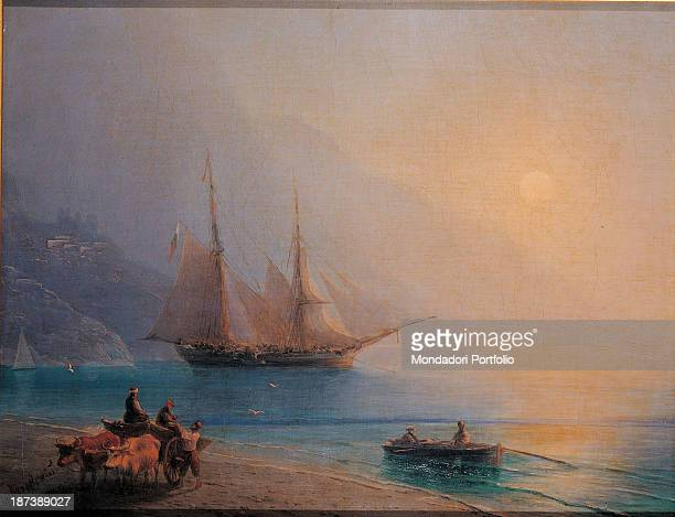 Russia Serpuchov History and Art Museum All Early morning on the sea A ship with unfurled sails is anchored offshore In the foreground one can...