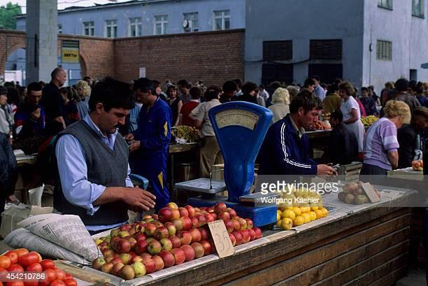 Russia Siberia Irkutsk Market Scene Armenian Man Selling Tomatoes And Apples