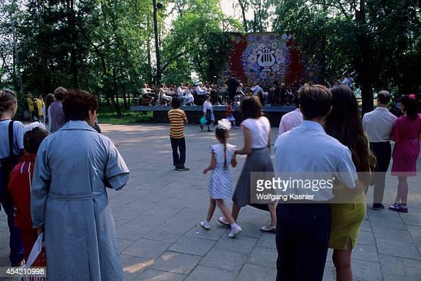 Russia Siberia Irkutsk Park Promenade Along Angara River People Listening To Classical Concert