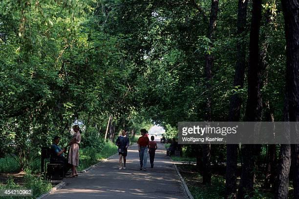 Russia Siberia Irkutsk Park Promenade Along Angara River