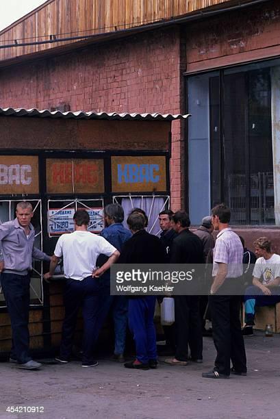 Russia Siberia Irkutsk Street Scene Men Buying Beer