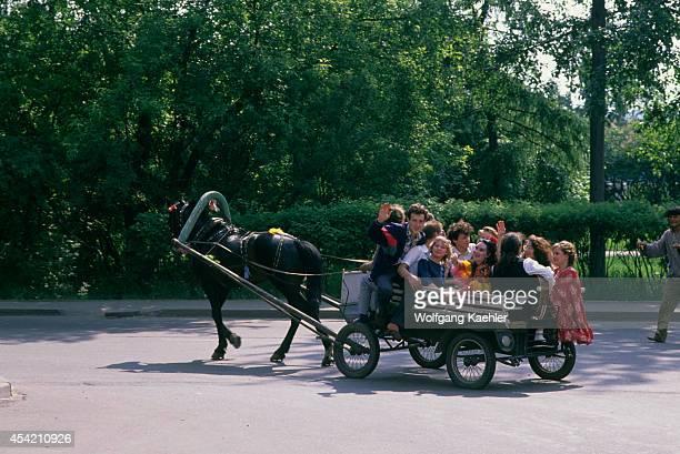 Russia Siberia Irkutsk Street Scene Young People In Horse Carriage