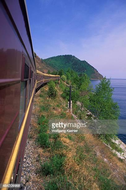 Russia Siberia Lake Baikal 'russia' Special Trans Siberian Train Going Along Lake