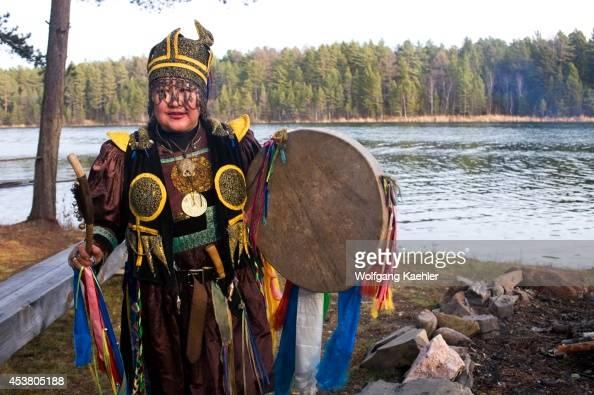 Russia Siberia Near Irkutsk Buryat Shaman Performing Ceremony