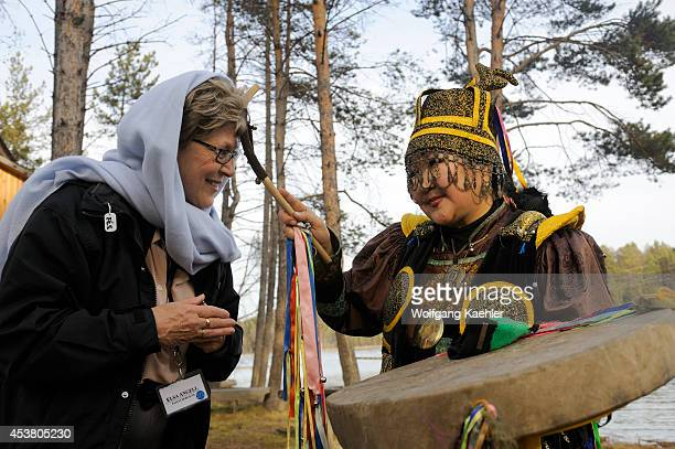 Russia Siberia Near Irkutsk Buryat Shaman Performing Ceremony Tourist