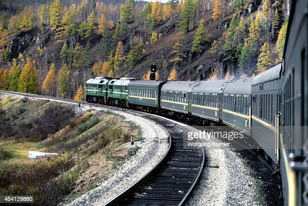 Russia Siberia Transsiberian Special Express Traveling Through Fall Landscape