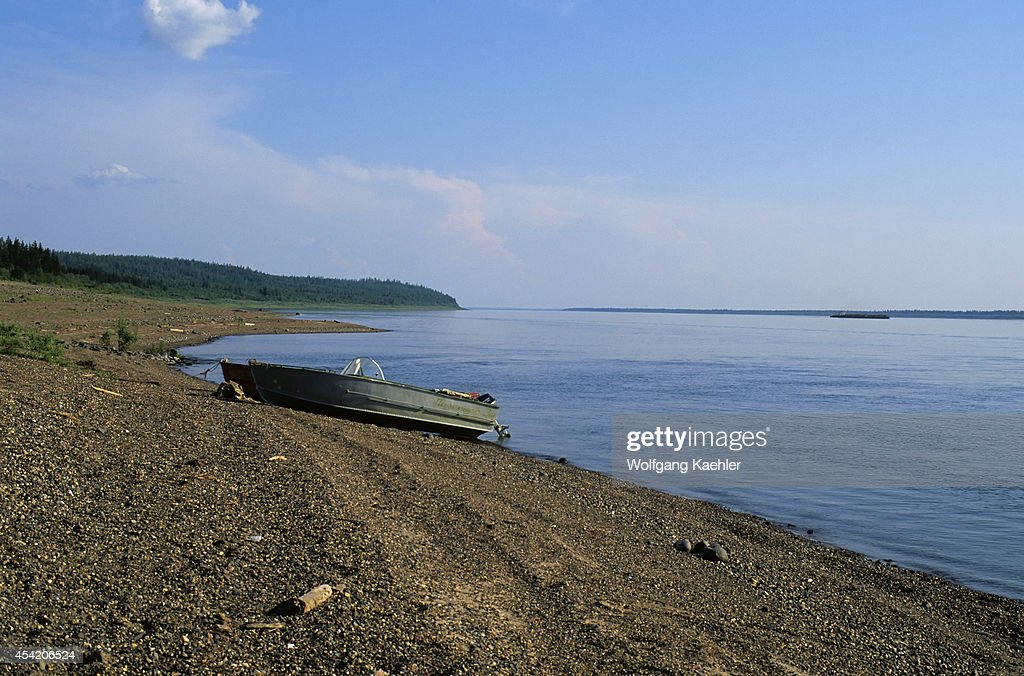 Russia, Siberia, Yenisey River, Lebed, Nature Preserve, Beach, Boat.