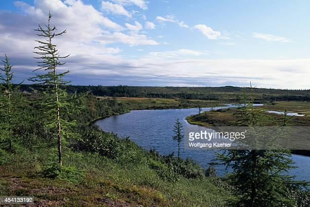Russia Siberia Yenisey River Near Dudinka View Of Small River In Tundra