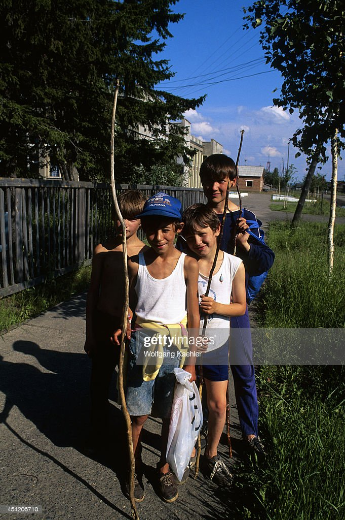 Russia, Siberia, Yenisey River, Turuchansk, Street Scene, Local Boys.