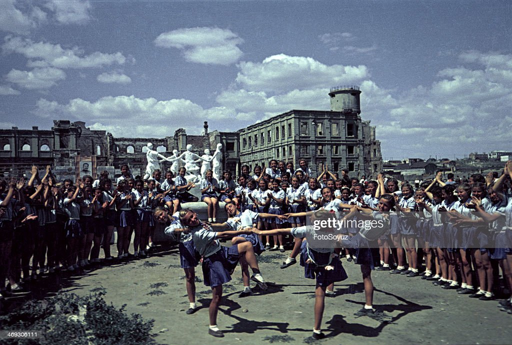 First postwar sports parade in Stalingrad Summer 1945