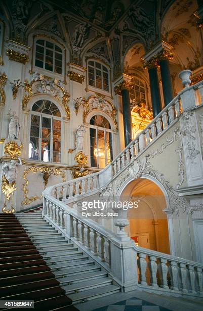 Russia St Petersburg The Winter Palace of the Hermitage Museum Detail of the Jordan Staircase and opulent white and gold interior decoration