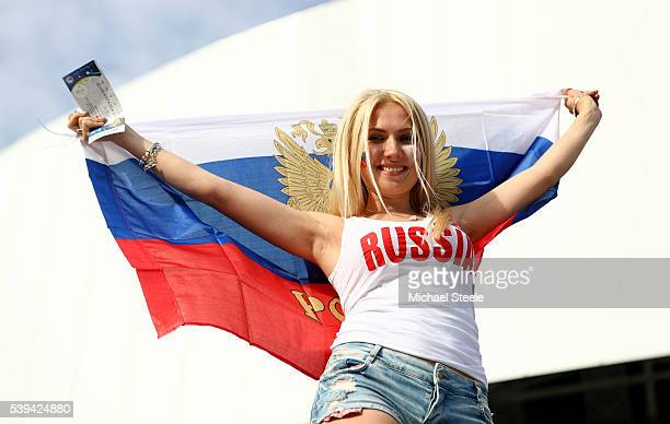 Russia supporter poses for photographs prior to the UEFA EURO 2016 Group B match between England and Russia at Stade Velodrome on June 11 2016 in...