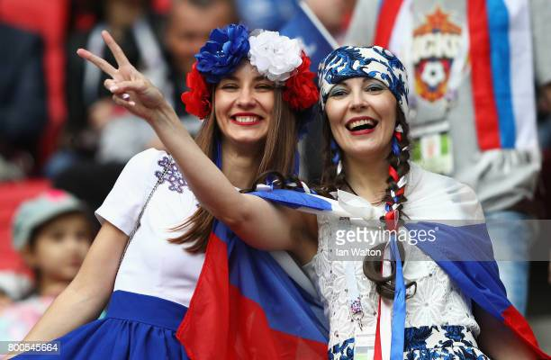 Russia supporters enjoy the atmosphere prior to the FIFA Confederations Cup Russia 2017 Group A match between Mexico and Russia at Kazan Arena on...