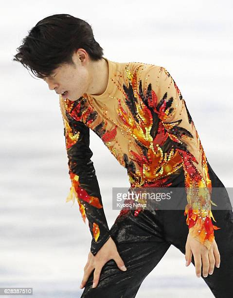 SOCHI Russia Tatsuki Machida of Japan finishes his performance in the men's figure skating free program at the Iceberg Skating Palace during the...