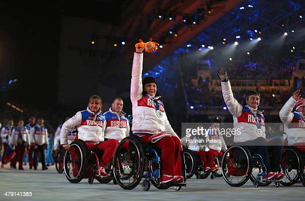Russia team members enter the stadium prior to the Sochi 2014 Paralympic Winter Games Closing Ceremony at Fisht Olympic Stadium on March 16 2014 in...