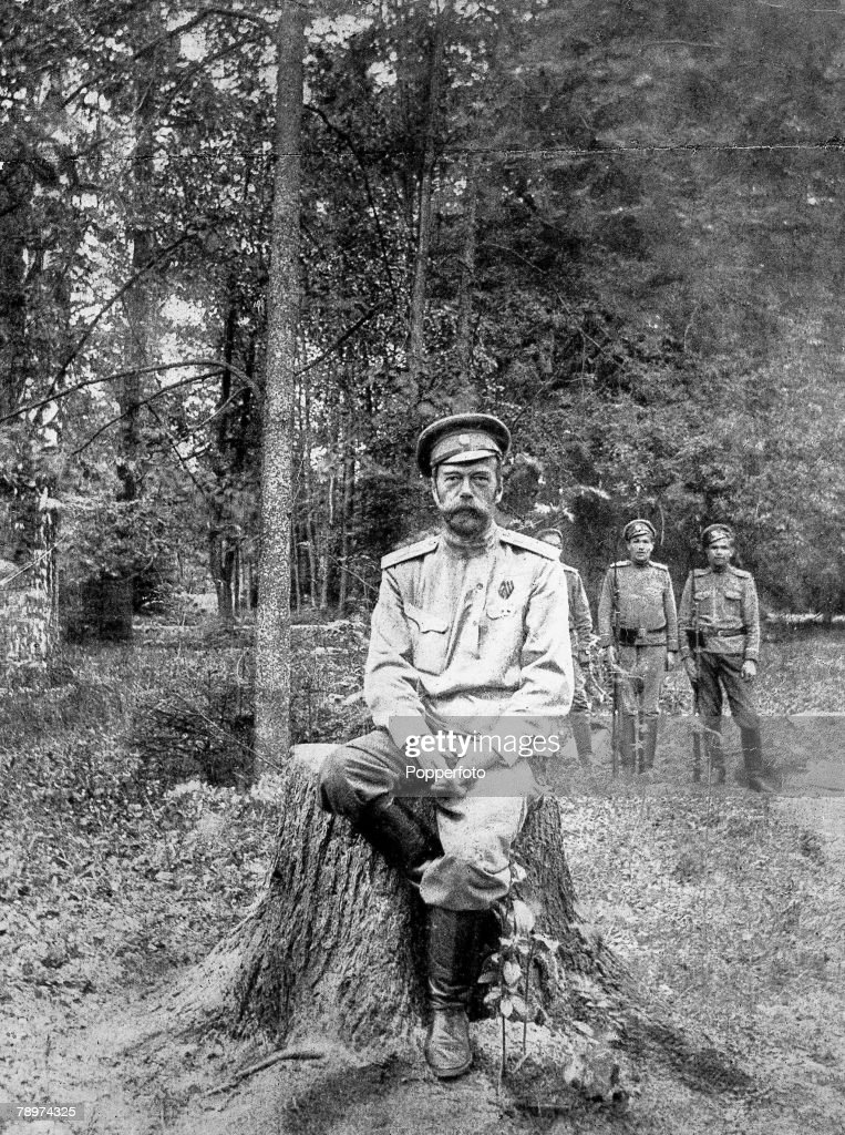 1917 Russia Tsar Nicolas II under arrest at Tsarskoe selo after his abdication