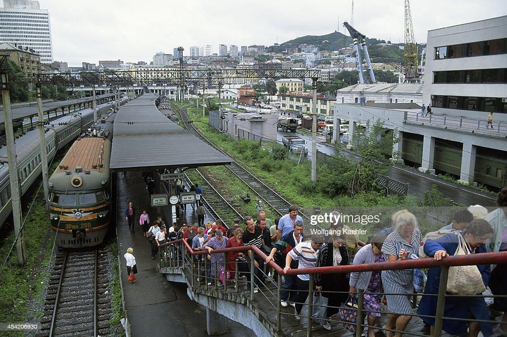 Russia, Vladivostok, Train Station With Commuter Train.