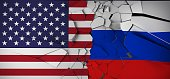 Russia Vs United States Of America  Concept Flags On Broken Cracked Concrete 3D Rendering