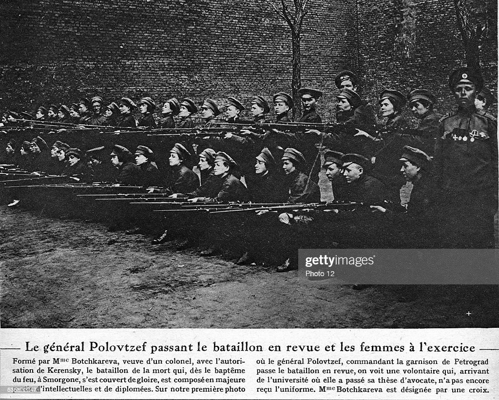 russia-womens-battalion-of-death-general-polovtzef-passing-the-the-picture-id535822247