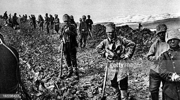Russia World War I In Armenia the Russian army building the road from Kara Urgan to HassanKale