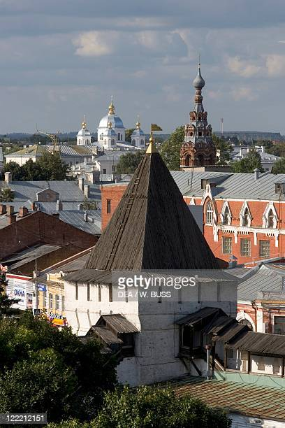 Russia Yaroslavl townscape with churches and rooftops