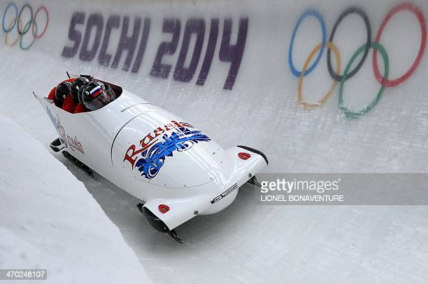 Russia1 fourman bobsleigh steered by Alexander Zubkov takes part in the first fourman Bobsleigh official training during the Sochi Winter Olympics at...