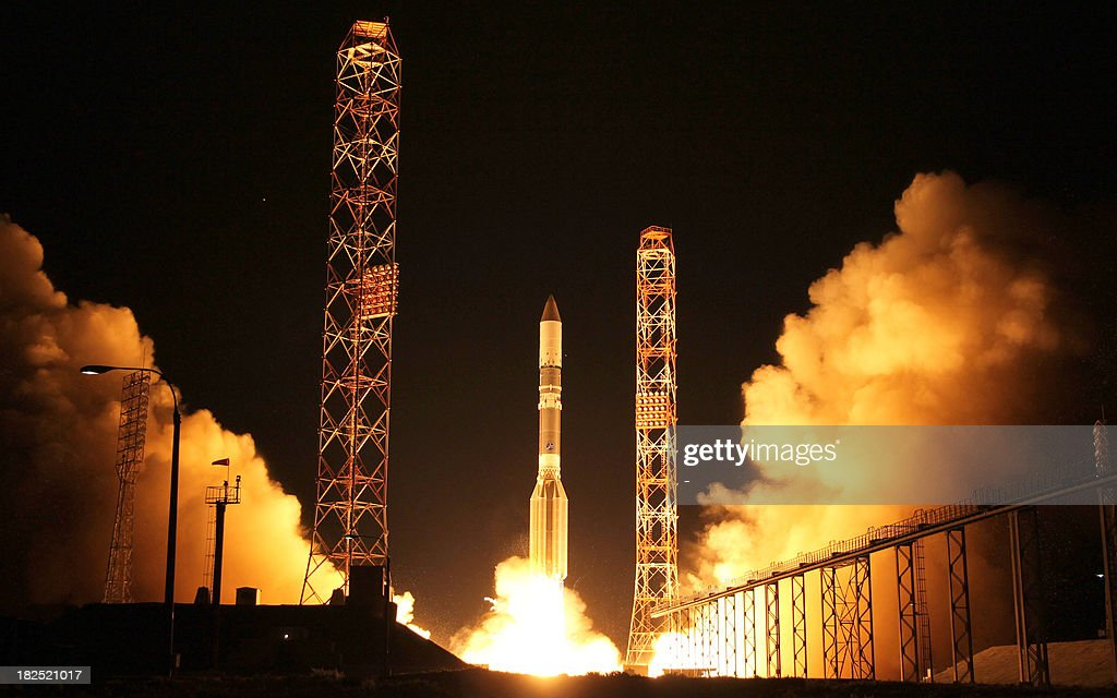A Russia-built Proton rocket of the International Launch Services (ILS) with the EADS-Astrium-built Astra 2E satellite of the fleet operator SES of Luxembourg aboard blasts off from a launch pad in the Russian leased Kazakhstan's Baikonur cosmodrome on September 30, 2013.
