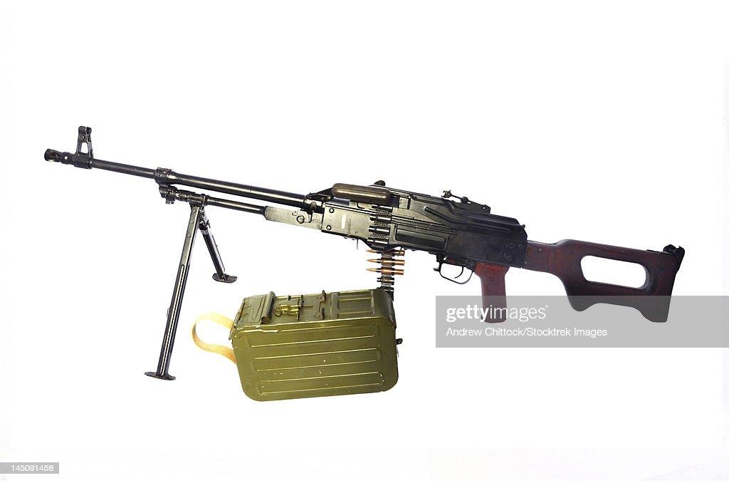 Russian 7.62mm PKM general-purpose machine gun.