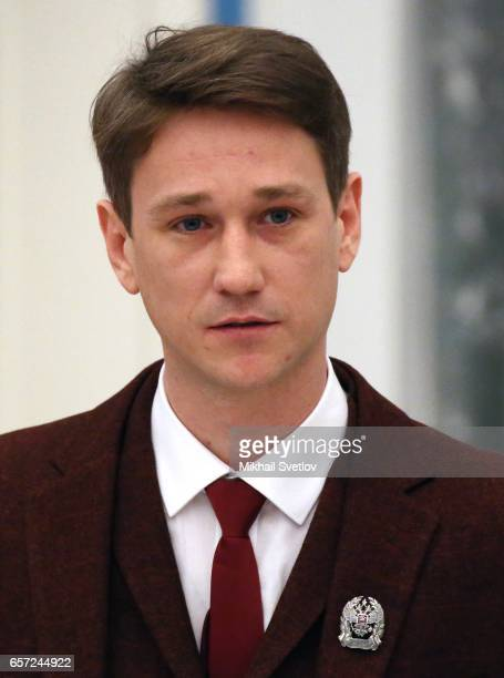 Russian actor Anton Shagin delivers a speech during the awards ceremony at the Kremlim on March 2017 in Moscow Russia has awarded 6 people including...