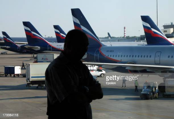 Russian Aeroflot plane as seen through a window of Sheremetyevo airport on July 13 2012 in Moscow Russia Snowden is still believed to have been...