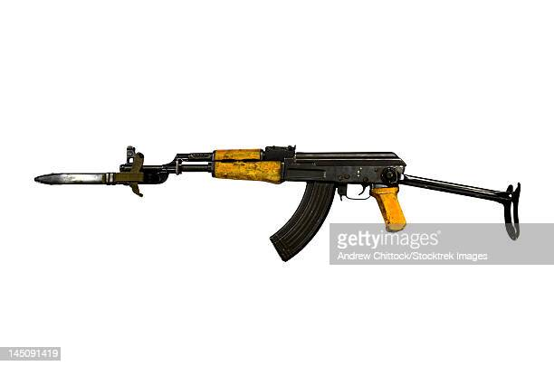 Russian AK-47 assault rifle with folding metal butt and attached bayonet.