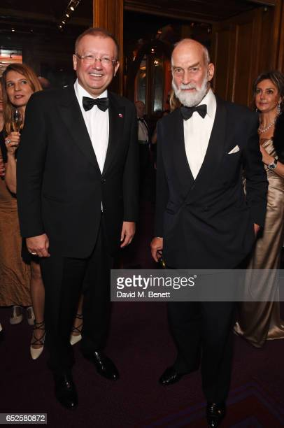 Russian Ambassador Alexander Vladimirovich Yakovenko and Prince Michael of Kent attend the Russian Ballet Icons Gala at The London Coliseum on March...