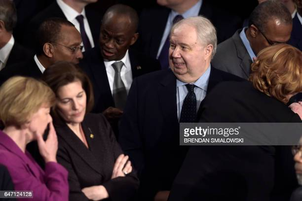 Russian Ambassador to the US Sergey Kislyak arrives before US President Donald Trump addresses a joint session of the US Congress on February 28 in...