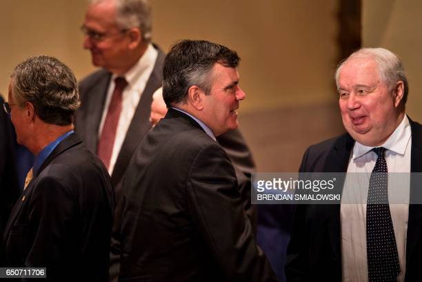 Russian Ambassador to the US Sergey Kislyak speaks with others after a foreign policy speech by Republican US Presidential hopeful Donald Trump at...