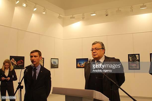 Russian Ambassador to Turkey Andrei Karlov gives a speech as he visits an art fair at Modern Art Center in Ankara Turkey on December 19 2016 Russian...