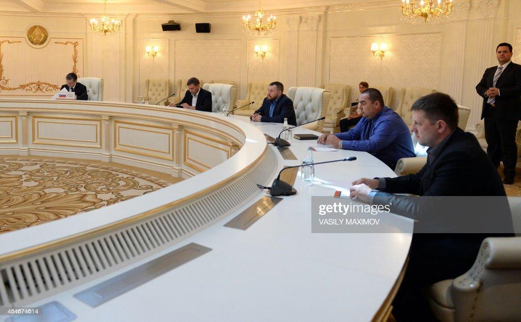Russian ambassador to Ukraine Mikhail Zurabov representatives of self proclamed 'People Republic of Donetsk' Prime Minister Alexander Zakharchenko...