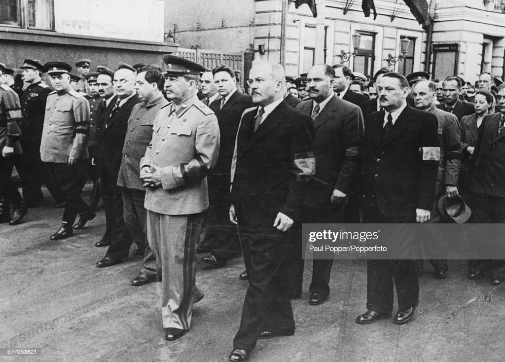 Russian and Soviet politicians march together at the funeral of Soviet Head of State Mikhail Kalinin in Moscow on 3rd June 1946 Nikolai Bulganin...