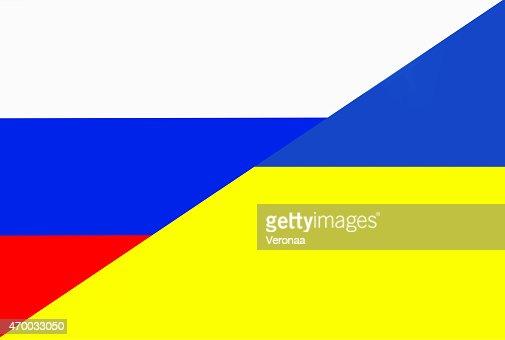 Russian and Ukraine flag