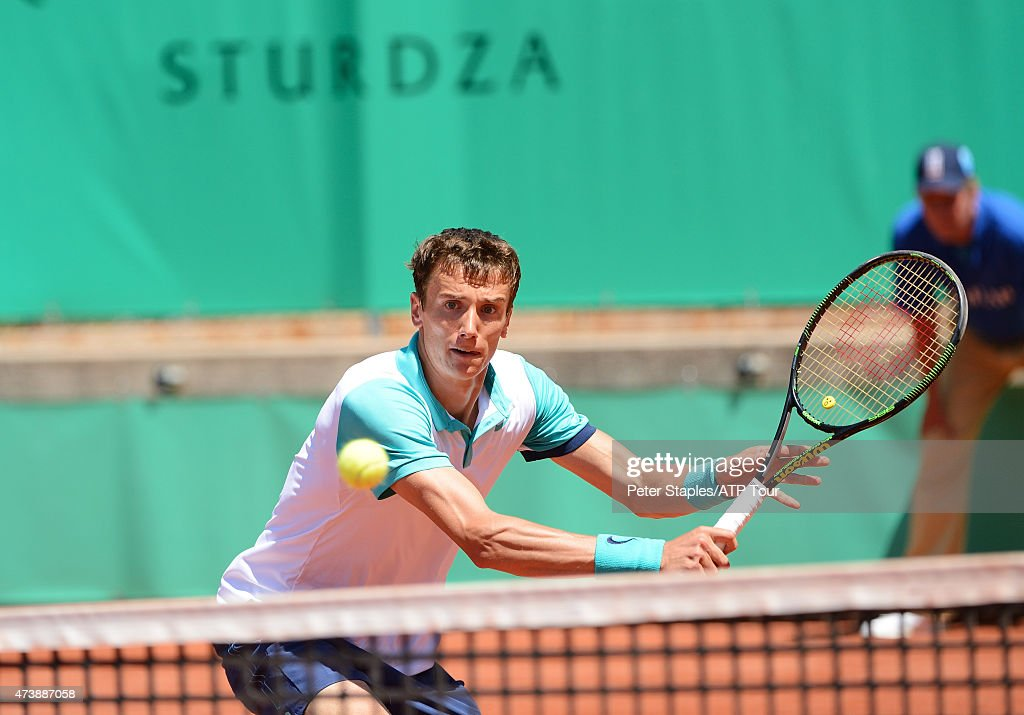 Russian Andrey Kuznetsov competing in his win over Austrian Andreas Haider-Maurer in the second round of the Geneva Open at Parc des Eaux-Vives on May 18, 2015 in Geneva, Switzerland.