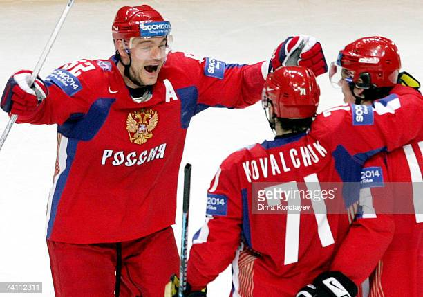 Russian Andrey Markov jubilastes after his team scored against team Czech during the IIHF World Ice Hockey Championship quarter final match between...