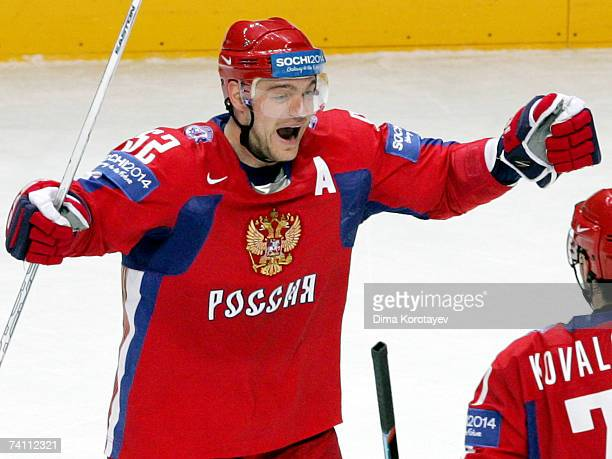 Russian Andrey Markov jubilates after his team scored against team Czech during the IIHF World Ice Hockey Championship quarter final match between...