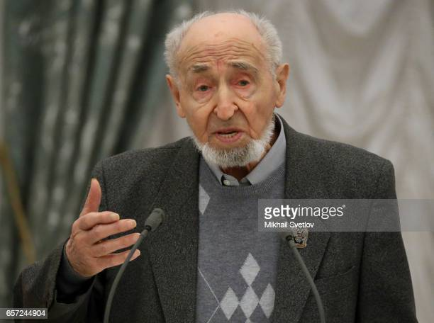 Russian animator and film director Leonid Shwartsman speaks during the awards ceremony at the Kremlim on March 2017 in Moscow Russia has awarded 6...
