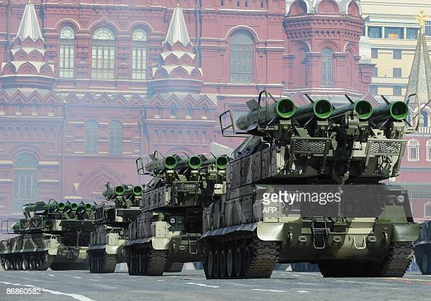 Russian antiaircraft missiles drive through Red Square during the nation's Victory Day parade in Moscow on May 9 2009 in commemoration of the end of...